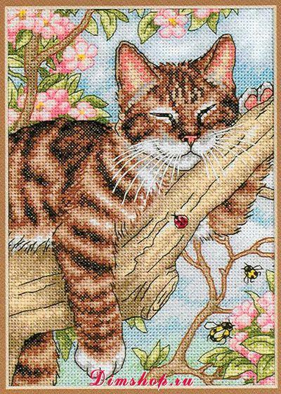 Ленивый кот. Вышивка крестом