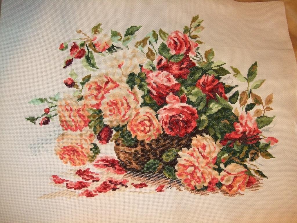 Вышивка крестом розы готовые работы 98