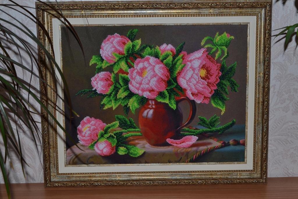 Розовые пионы (Магия канвы)